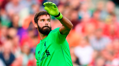 Liverpool goalkeeper Alisson Becker throws the ball out against Napoli at the Aviva Stadium yesterday. Photo: Sportsfile
