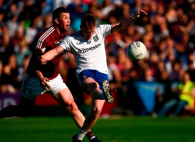 Ryan McAnespie of Monaghan in action against Gareth Bradshaw of Galway. Photo: Diarmuid Greene/Sportsfile