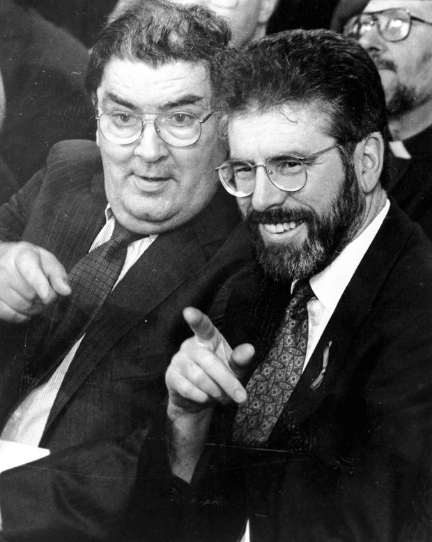 NON-VIOLENT STRATEGY: The objective of the dialogue between John Hume (left) and Gerry Adams was to end IRA violence.