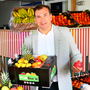 Paul Hussey of Donnelly Fruit and Veg, pictured with a FruitBox and fruit they supply from the Dublin Fruit Market. Photo: Frank McGrath