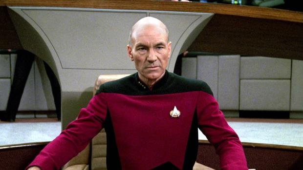 Patrick Stewart as Captain Jean-Luc Picard in the STAR TREK: THE NEXT GENERATION episode,