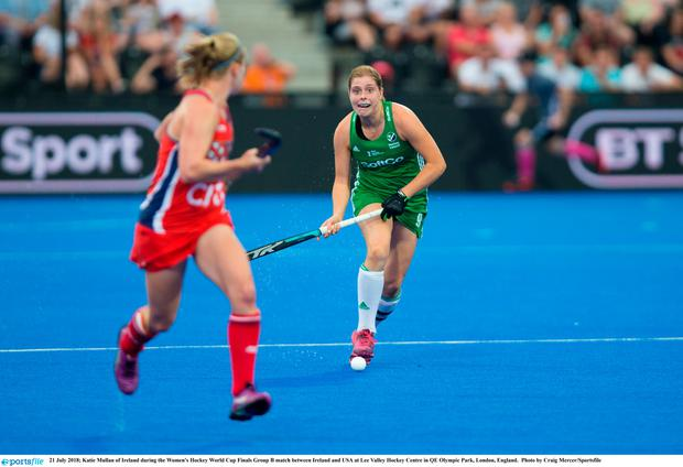 21 July 2018; Katie Mullan of Ireland during the Women's Hockey World Cup Finals Group B match between Ireland and USA at Lee Valley Hockey Centre in QE Olympic Park, London, England. Photo by Craig Mercer/Sportsfile