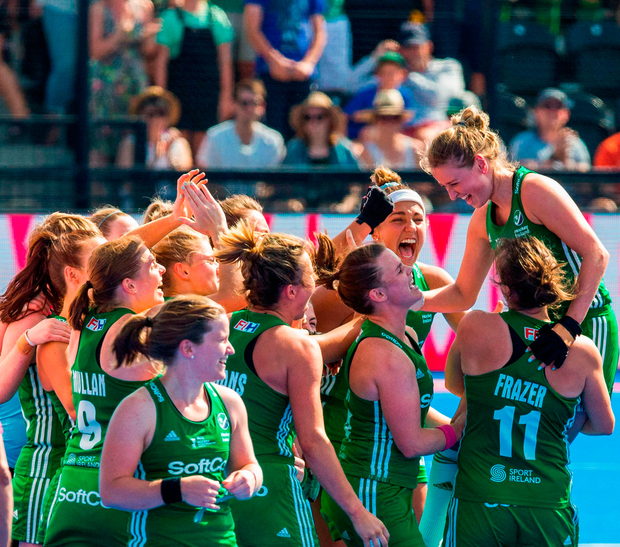 Ireland players celebrate after the Women's Hockey World Cup Finals semi-final match between Ireland and Spain at the Lee Valley Hockey Centre