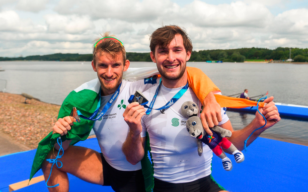 Paul O'Donovan, right, and Gary O'Donovan of Ireland celebrate after finishing 2nd
