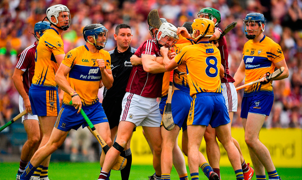 Joe Canning of Galway and Colm Galvin of Clare