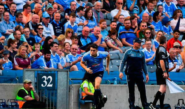 Bernard Brogan of Dublin comes on as a substitute in the second half