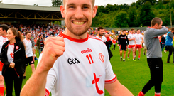 5 August 2018; Niall Sludden of Tyrone celebrates after the GAA Football All-Ireland Senior Championship Quarter-Final Group 2 Phase 3 match between Tyrone and Donegal at MacCumhaill Park in Ballybofey, Co Donegal. Photo by Oliver McVeigh/Sportsfile