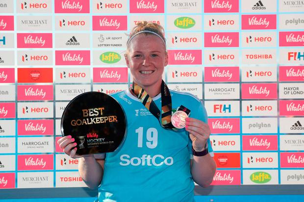 Ayeisha McFerran of Ireland with her Silver Medal and her Best Goalkeeper of the Tournament Award during the Final game between Netherlands and Ireland of the FIH Womens Hockey World Cup.