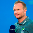 Ireland head coach Graham Shaw speaks to the media following the Women's Hockey World Cup Finals Quarter-Final match between Ireland and India at the Lee Valley Hockey Centre in QE Olympic Park, London, England.