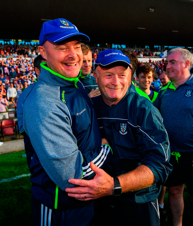 Monaghan manager Malachy O'Rourke celebrates with selector Leo McBride after Saturday's victory over Galway. Photo by Ramsey Cardy/Sportsfile