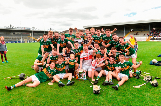 Kerry players celebrate their victory in the All-Ireland U-21 'B' HC final. Photo by Matt Browne/Sportsfile