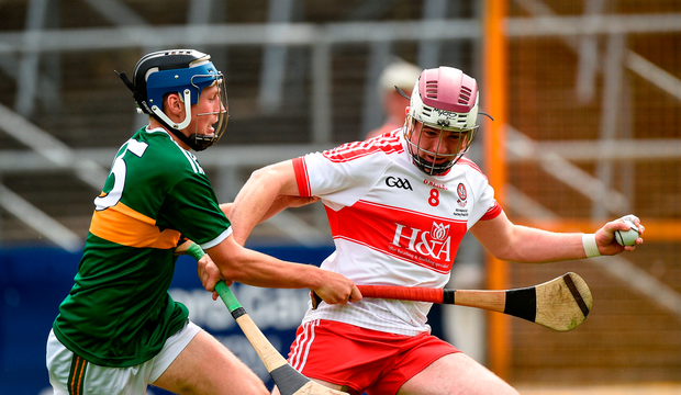 Conor McAllister of Derry in action against Shane Conway of Kerry. Photo by Matt Browne/Sportsfile