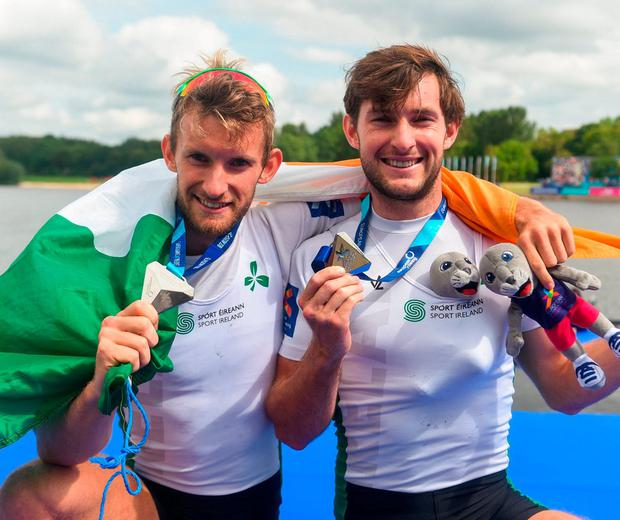 Gary and Paul O'Donovan celebrate after finishing second in the lightweight men's double sculls final at the European Championships in Glasgow. Photo: David Fitzgerald/Sportsfile