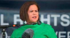 Mary Lou McDonald speaking at the National Hunger Strike Commemoration in Co Down yesterday. Photo: PA