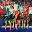 Ireland players (l-r) Nicola Daly, Roisín Upton, Deirdre Duke, Zoe Wilson and Elena Tice celebrate with their silver medals. Photo by Craig Mercer/Sportsfile