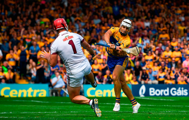 Aron Shanagher has his shot saved by James Skehill in the final minutes of Clare's defeat against Galway yesterday. Photo by Ramsey Cardy/Sportsfile