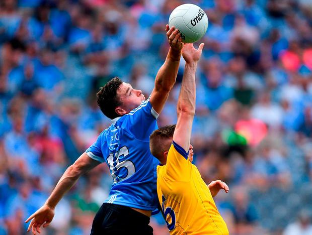 Dublin's Paddy Andrews in action against Roscommon's Darra Pettit. Photo: Piaras Ó Mídheach/Sportsfile