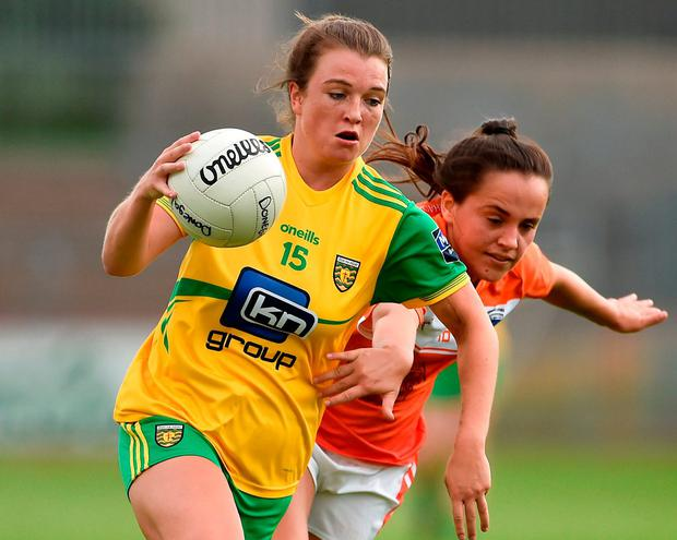 Donegal's Eiliish Ward in action against Armagh's Megan Sheridan. Photo: Oliver McVeigh/Sportsfile