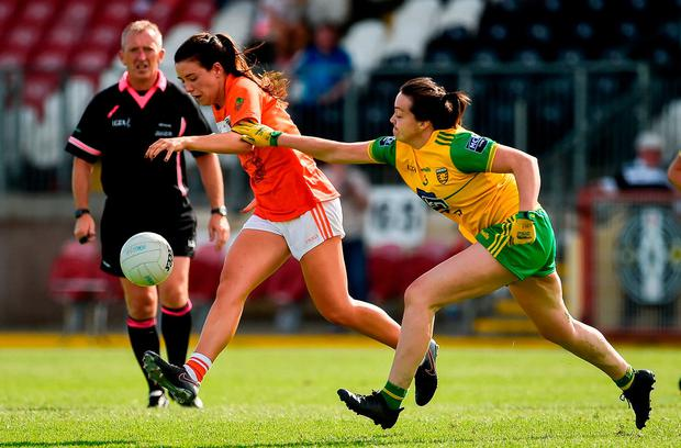 Armagh's Tiarna Grimes in action against Donegal's Nicole McLaughlin. Photo: Oliver McVeigh/Sportsfile