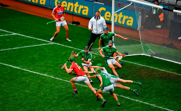 Limerick goalkeeper Nickie Quaid makes a save from Seamus Harnedy of Cork in the final moments of the GAA Hurling All-Ireland Championships. Photo: Brendan Moran/Sportsfile