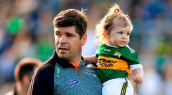 Eamonn Fitzmaurice with his daughter Faye. Photo: Brendan Moran/Sportsfile