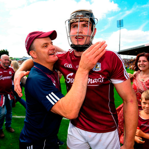 Galway manager Micheál Donoghue congratulates Joseph Cooney Photo: Ramsey Cardy/Sportsfile