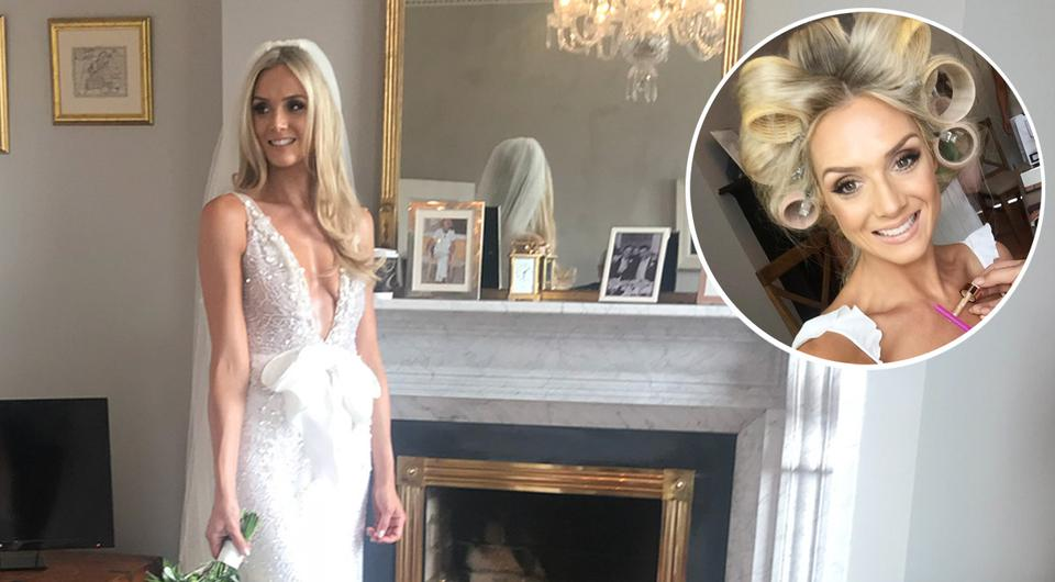 Make up artist Sue Brophy created the soft, sun-kissed look for bride Judy Gilroy (pictured) for her recent wedding | Photos via Instagram