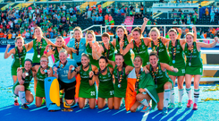 The Ireland team celebrate with their medals after the Women's Hockey World Cup Final match between Ireland and Netherlands at the Lee Valley Hockey Centre