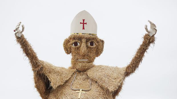 A scarecrow pope made from hay (Niall Carson/PA)