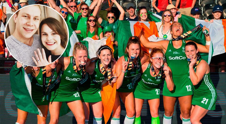 Irish hickey team celebrate silver medal in World Cup 2018 Finals | Inset: Lizzie Colvin and fiancé Matthew Holden announce engagement, via Instagram