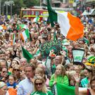 Supporters welcome the Irish Hockey Team at the Homecoming celebrations in Dame Street. Photo: Tony Gavin 6/8/2018