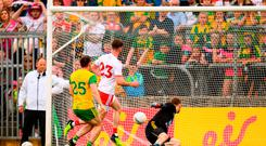 Tyrone's Declan McClure seals victory against Donegal with a late goal. Photo: Stephen McCarthy/Sportsfile