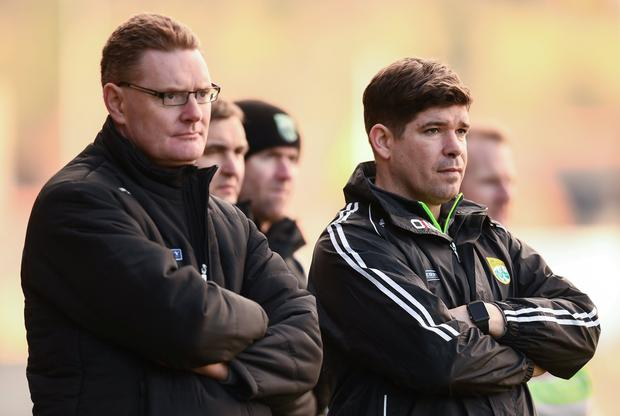 Departing Kerry manager Eamonn Fitzmaurice, right, and Kerry County Board Chairman Tim Murphy, left. Photo: Stephen McCarthy/Sportsfile