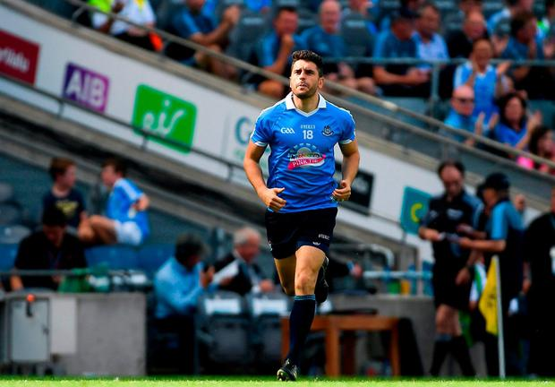 RECOVERY: Bernard Brogan runs onto the pitch to make his return for Dublin during Sunday's All-Ireland SFC quarter-final Group 2 match against Roscommon at Croke Park. Photo: Piaras Ó Mídheach/Sportsfile