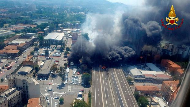 A general view of the motorway after an accident caused a large explosion and fire at Borgo Panigale, on the outskirts of Bologna, Italy. Italian Firefighters Press Office/Handout via REUTERS