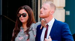 England cricketer Ben Stokes, accompanied by his wife Clare, outside Bristol Crown Court. Photo: Adrian Dennis/Getty