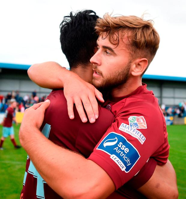 Denzil Fernandez, left, and Craig Donnelan of Cobh Ramblers celebrate. Photo: Ben McShane/Sportsfile