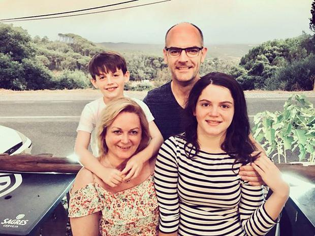 Rhys,Gordon, Barbara and Rebecca Englishby were on holiday in Potugal when the fire began