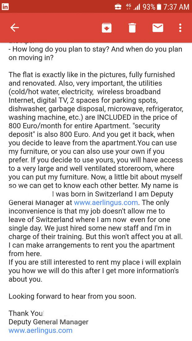 An example of the email sent by the scammer to lure house hunters into transferring over the money. Photo: Reddit.