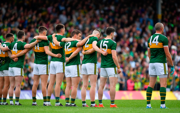 4 August 2018; The Kerry team stand for the national anthem prior to the GAA Football All-Ireland Senior Championship Quarter-Final Group 1 Phase 3 match between Kerry and Kildare at Fitzgerald Stadium in Killarney, Kerry. Photo by Brendan Moran/Sportsfile