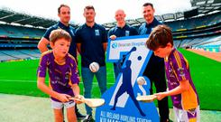The Beacon Hospital All-Ireland Hurling Sevens, organised by Kilmacud Crokes, were yesterday launched in Croke Park by hurlers, (l-r) Ryan O'Dwyer, Bill O'Carroll, Fergal Whitely and Niall Corcoran, with Under-10 Kilmacud Crokes hurlers Michael Lyng (left) and Cian Manning. Photo: Ramsey Cardy/Sportsfile