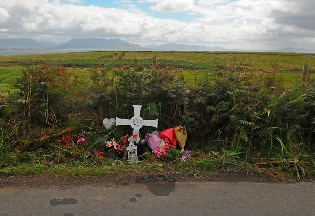 A memorial at the site of the crash. Photo: Conor McKeown