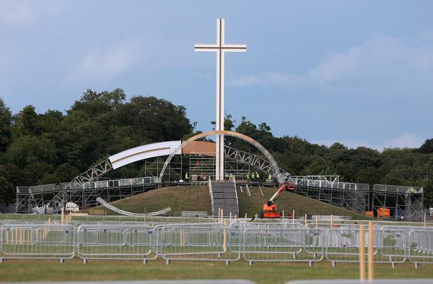 A stage is constructed around the Papal cross in the Phoenix Park for the Papal visit. Photo: Damien Eagers