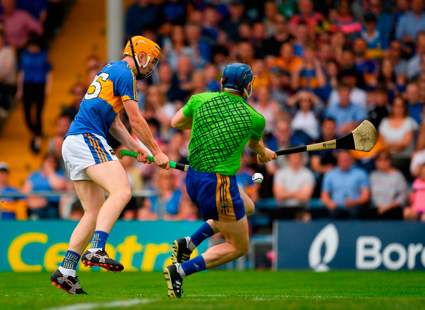 The fateful Jake Morris effort that hit the upright against Clare and ultimately proved the beginning of the end for manager Michael Ryan. Photo: Sportsfile