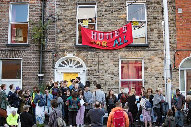 Protesters take over a house in Summerhill to protest against the lack of rental accommodation, overcrowded accommodation and homelessness in Dublin. Photo: Arthur Carron