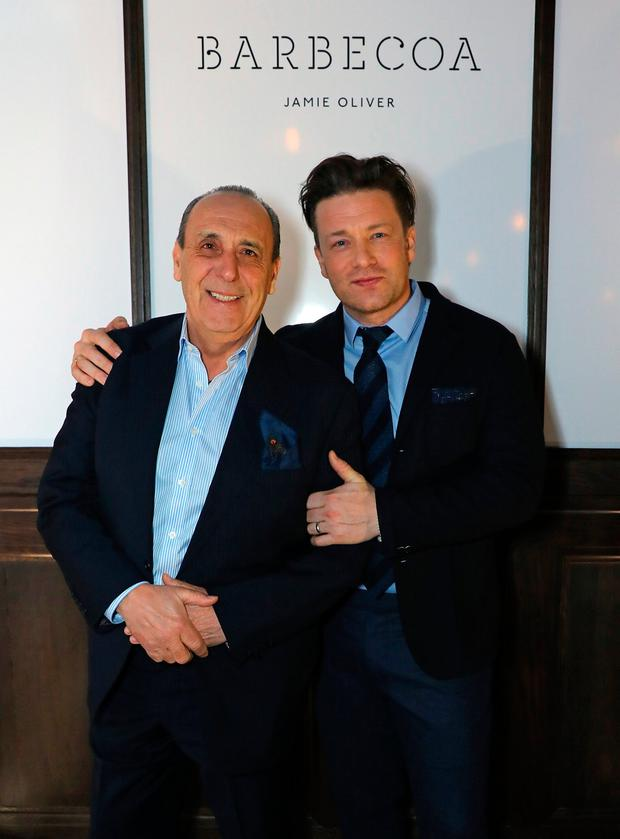 Well-suited: Jamie Oliver with mentor Gennaro Contaldo