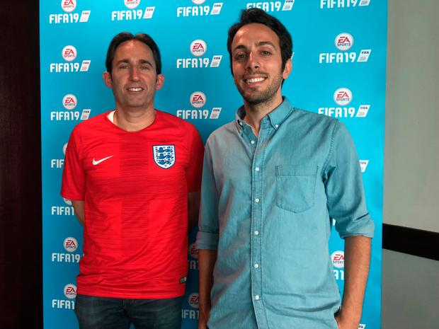 FIFA producer Matt Prior and gameplay producer Kantcho Doskov at Stamford Bridge for the FIFA 19 preview. Photo: Ronan Price