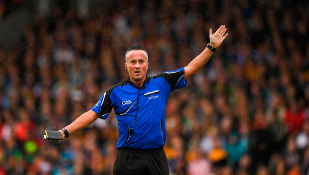 15 July 2018; Referee James McGrath during the GAA Hurling All-Ireland Senior Championship Quarter-Final match between Kilkenny and Limerick at Semple Stadium, Thurles, Co Tipperary Photo by Ray McManus/Sportsfile