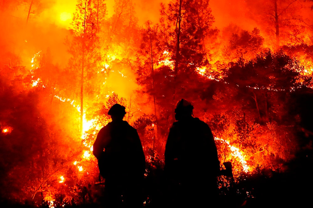 Firefighters monitor a fire near Lodoga in northern California. Photo: Justin Sullivan/Getty Images