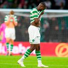 Celtic's Odsonne Edouard appears dejected during the UEFA Champions League third qualifying round, first leg match at Celtic Park, Glasgow. PRESS ASSOCIATION Photo. Picture date: Wednesday August 8, 2018. See PA story SOCCER Celtic. Photo credit should read: Jeff Holmes/PA Wire